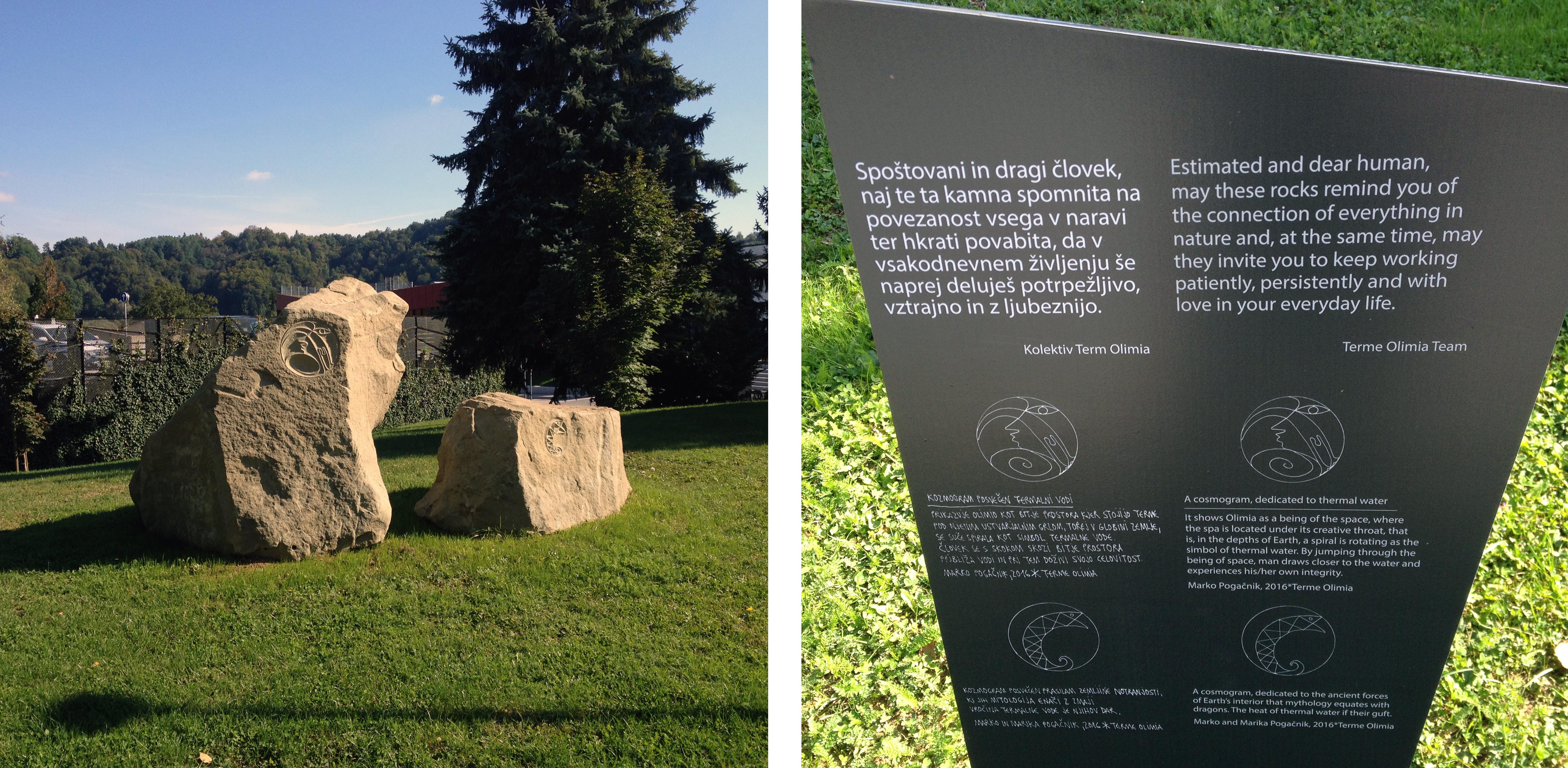Meseca avgusta 2016 sva za Terme Olimje z Mariko izklesala dva kozmograma v čast in zahvalo vodi. Kamna smo našli v bližnjem opuščenem kamnolomu. Stojita pred hotelom Breza.